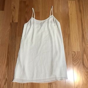 Aerie Silky White Pleated Slip Dress